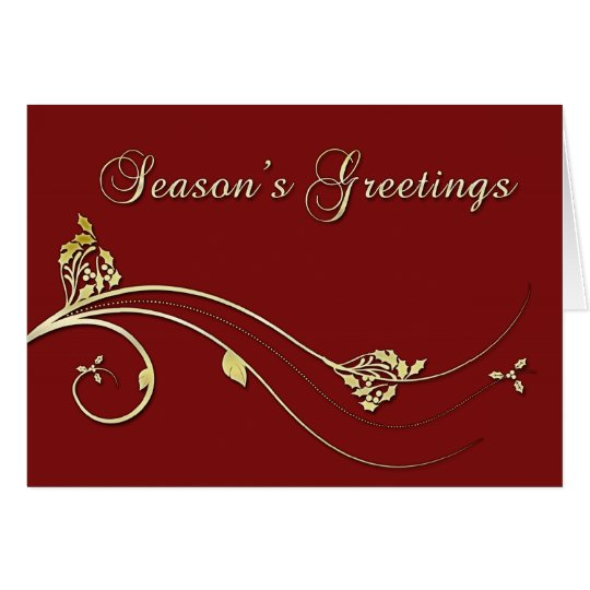 Burgundy Gold Christmas Greeting Card