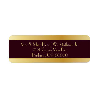 Burgundy & Gold Custom Return Address Labels