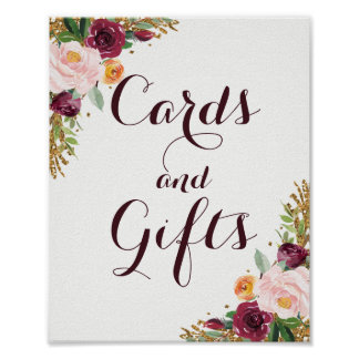 Burgundy Gold Floral Glitter Cards And Gifts Poster