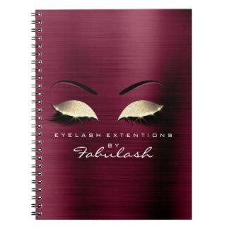 Burgundy Gold Glitter Eyes Makeup Beauty Branding Notebook