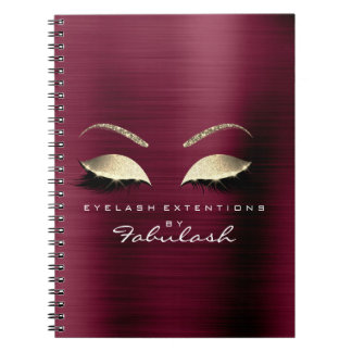 Burgundy Gold Glitter Eyes Makeup Beauty Luxury Spiral Notebook