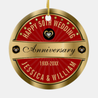 Burgundy & Gold Hearts 50th Wedding Anniversary Round Ceramic Ornament