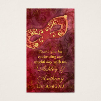 Burgundy Gold Masquerade Wedding Favour Tags