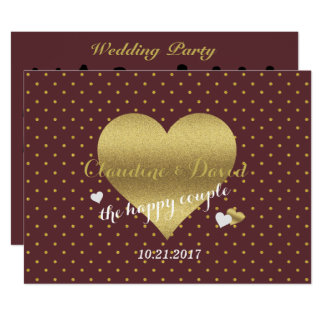 Burgundy Gold Polka Dot Wedding Party Program Card