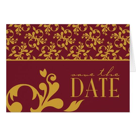 Burgundy & Gold Save The Date Card For Giti