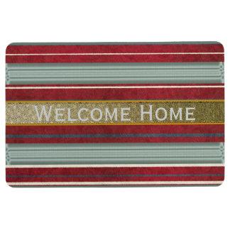 Burgundy Gold Striped Welcome Door mats