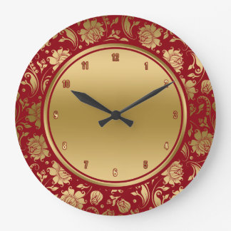 Burgundy & Gold VintageDamasks Large Clock