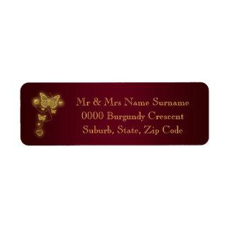 Burgundy gold wedding return address