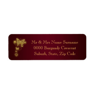 Burgundy gold wedding return address return address label