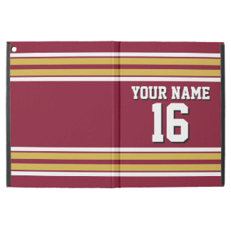 Burgundy Gold White Team Jersey Custom Number Name