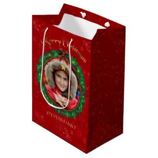 Burgundy & Green Christmas Wreath Photo Frame Medium Gift Bag