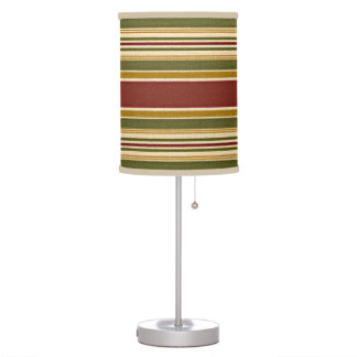 Burgundy Green Ivory Ochre Yellow Stripes Pattern Table Lamp