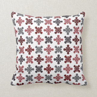 Burgundy Grey Maroon Abstract Flower Pattern Throw Pillow