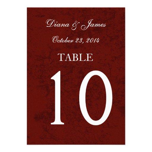 Burgundy Grunge Damask Wedding Table Number Set Invitations