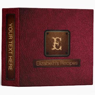 Burgundy Leather Elegant Monogram Vinyl Binder