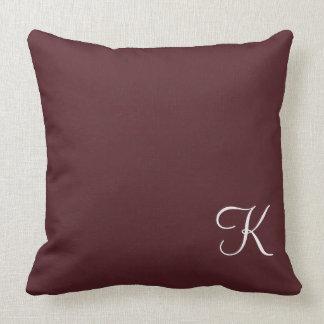 Burgundy Leather Monogram Throw Pillow
