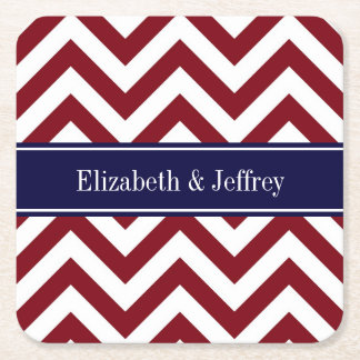 Burgundy Lg Chevron Navy Blue Name Monogram Square Paper Coaster