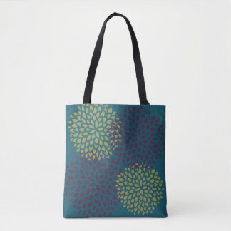 Burgundy Lime Blossoms Pattern Tote Bag