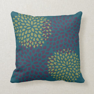 Burgundy Lime Blossoms Throw Pillow