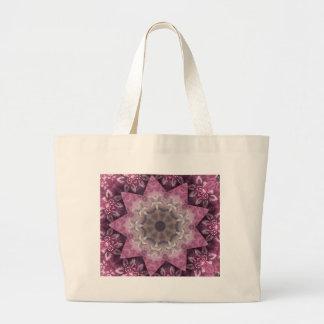 Burgundy Magenta Circular Spiked Pattern Large Tote Bag