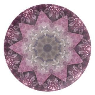 Burgundy Magenta Circular Spiked Pattern Plate