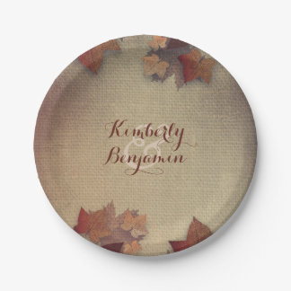 Burgundy Maple Leaves and Rustic Burlap Fall Paper Plate