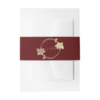 Burgundy Maroon Champaign Gold Floral Wreath Lux Invitation Belly Band
