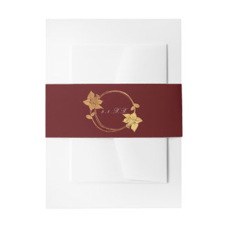 Burgundy Maroon Champaign Gold Floral Wreath Red Invitation Belly Band