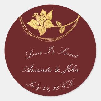 Burgundy Maroon Flower Save the Date Love Crimson1 Classic Round Sticker