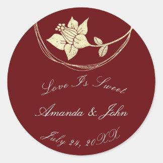Burgundy Maroon Flower Save the Date Love Crimson2 Classic Round Sticker