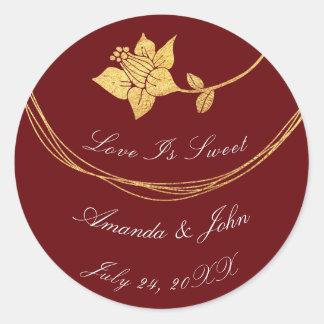 Burgundy Maroon Flower Save the Date Love Crimson3 Classic Round Sticker