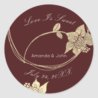 Burgundy Maroon Flower Save the Date Love is Sweet Classic Round Sticker