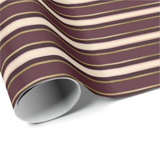 Burgundy Maroon Gold Ivory Stripes Lines Elegant Wrapping Paper