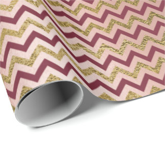 Burgundy Maroon Gold Red Stripes Lines Zig Chevron Wrapping Paper