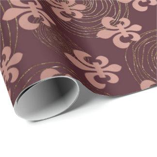 Burgundy Maroon Gold  Stripes Circles Fleur-de-lis Wrapping Paper