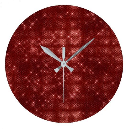 Burgundy Maroon Sequin Metallic Diamond Sparkly Large Clock