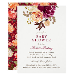 Burgundy Maroon Watercolor Floral Baby Shower Card