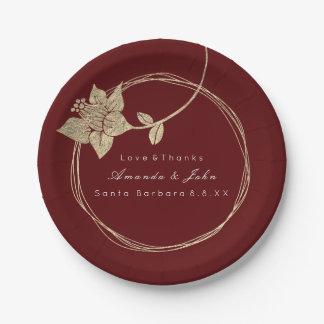 Burgundy Maroon Wedding Gold Floral Wreath Bridal Paper Plate