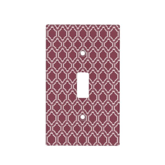 Burgundy Maroon & White Retro Pattern Light Switch Cover