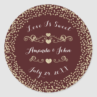 Burgundy MaroonGlitter Save the Date Love is Sweet Classic Round Sticker
