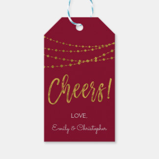 Burgundy Marsala and Gold Foil Cheers Gift Tag
