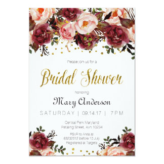 Burgundy Marsala Autumn Bridal Shower Invitation