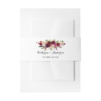 Burgundy Marsala Bohemian Floral Chic Wedding Invitation Belly Band