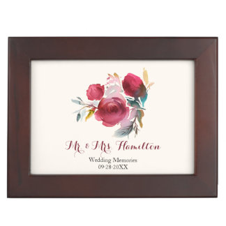 Burgundy Marsala Boho Floral Wedding Memories Keepsake Box