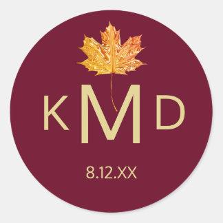 Burgundy Marsala Fall Autumn Monogram Wedding Classic Round Sticker