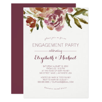 Burgundy Marsala Fall Floral Engagement Party Card