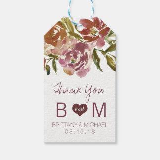 Burgundy Marsala Fall Floral Wedding Gift Tag