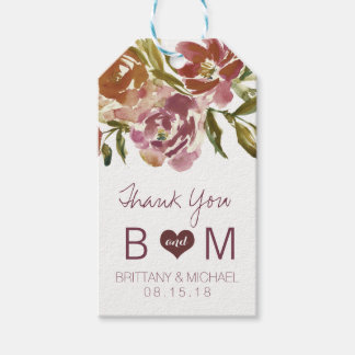 Burgundy Marsala Fall Floral Wedding Gift Tag Pack Of Gift Tags