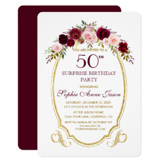 Burgundy Marsala Floral 50th Surprize Birthday Card