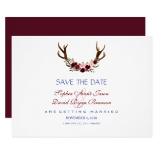 Burgundy Marsala Floral Antlers Save The Date Card